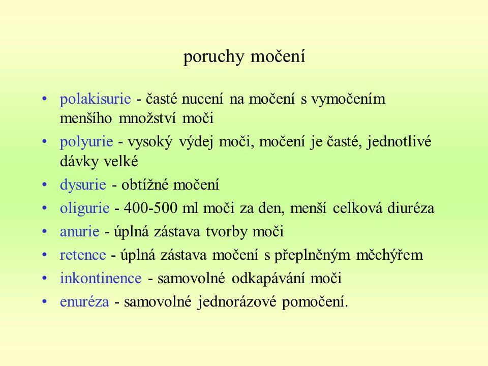 poruchy močení polakisurie - časté nucení na močení s vymočením menšího množství moči.