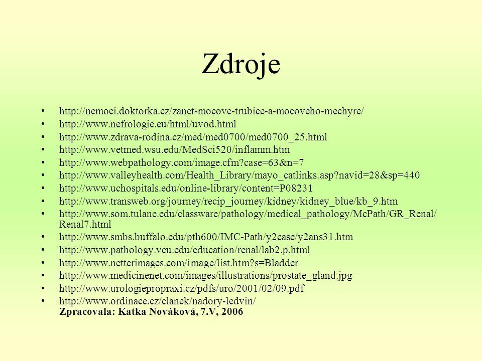 Zdroje http://nemoci.doktorka.cz/zanet-mocove-trubice-a-mocoveho-mechyre/ http://www.nefrologie.eu/html/uvod.html.