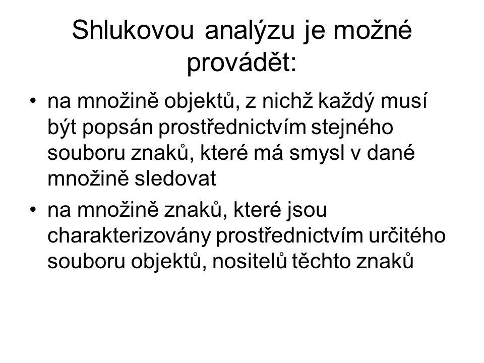 Shlukovou analýzu je možné provádět: