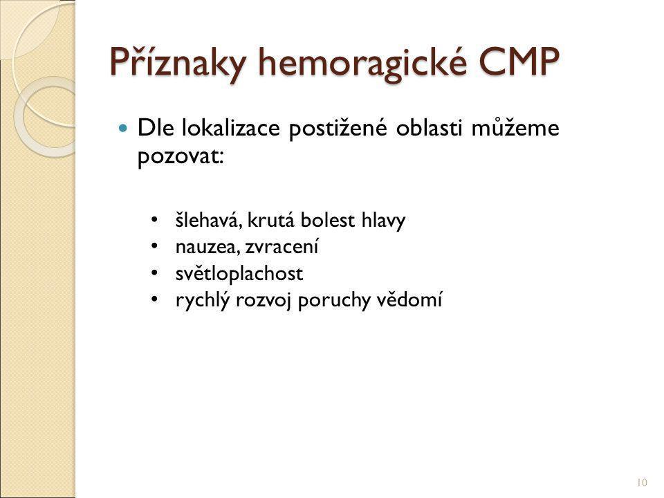 Příznaky hemoragické CMP