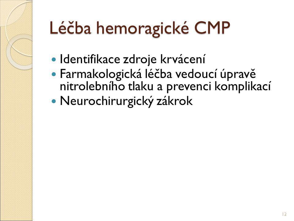 Léčba hemoragické CMP Identifikace zdroje krvácení