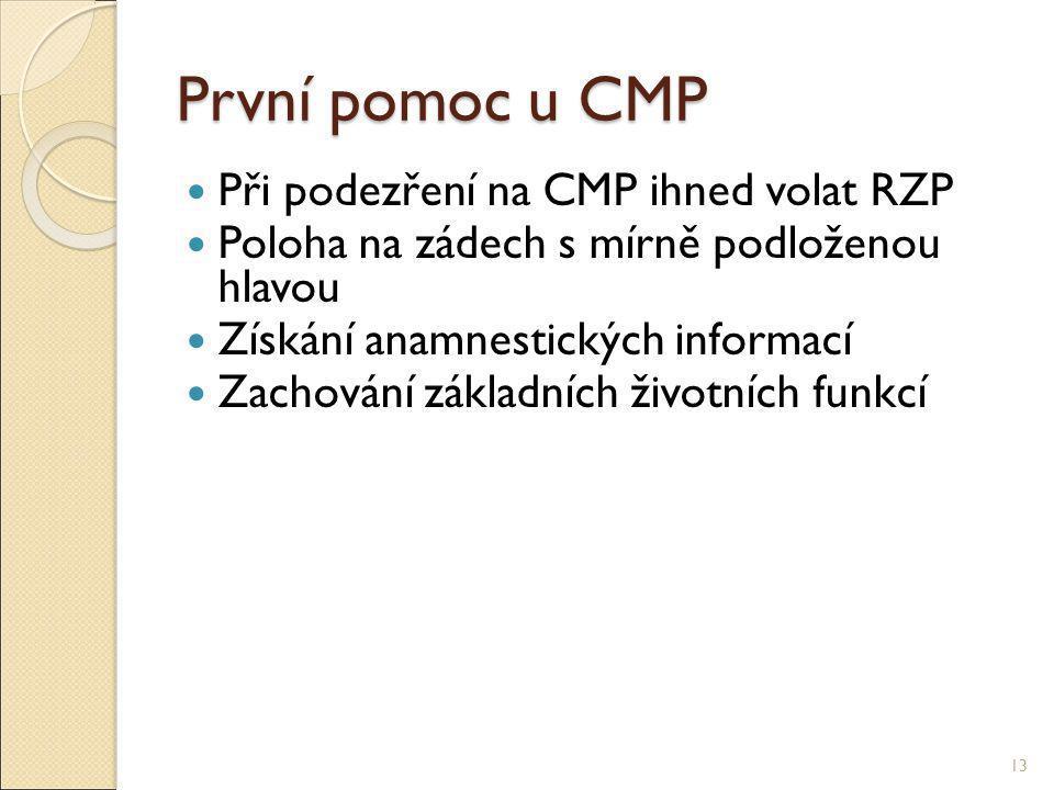 První pomoc u CMP Při podezření na CMP ihned volat RZP