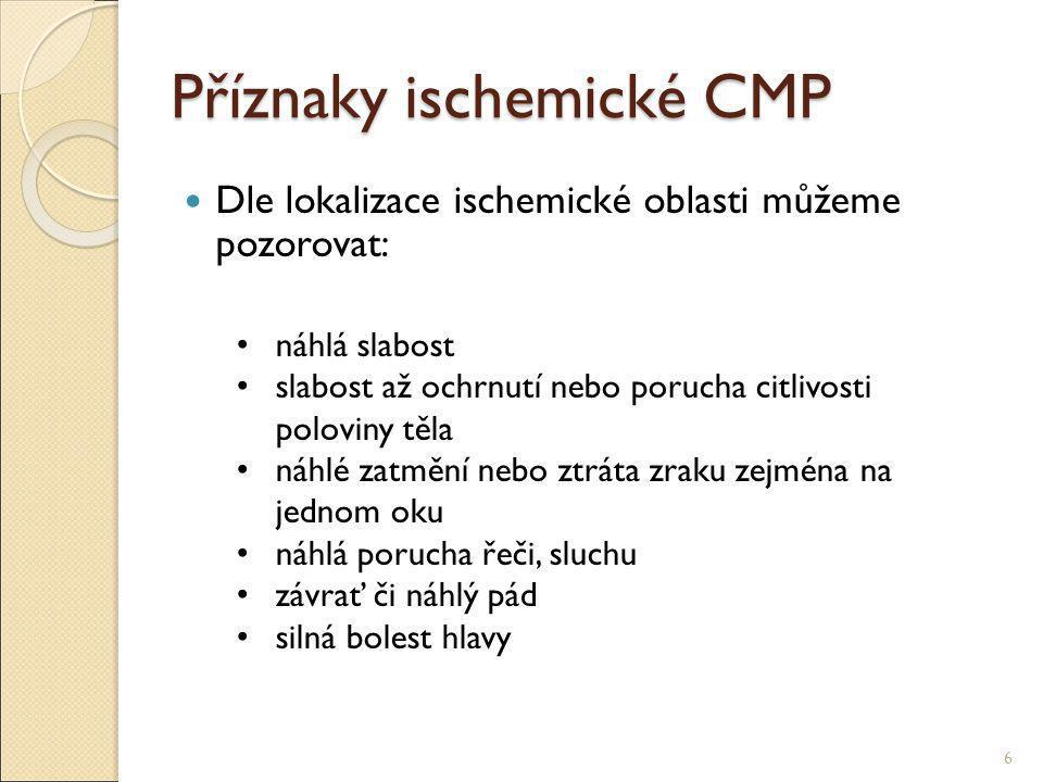 Příznaky ischemické CMP