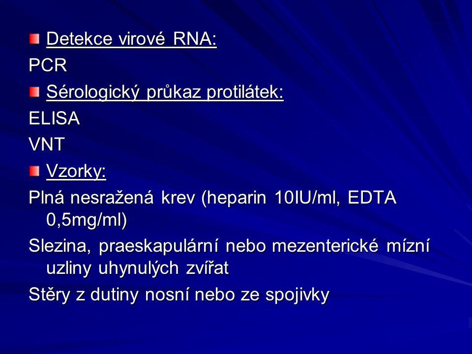Detekce virové RNA: PCR. Sérologický průkaz protilátek: ELISA. VNT. Vzorky: Plná nesražená krev (heparin 10IU/ml, EDTA 0,5mg/ml)