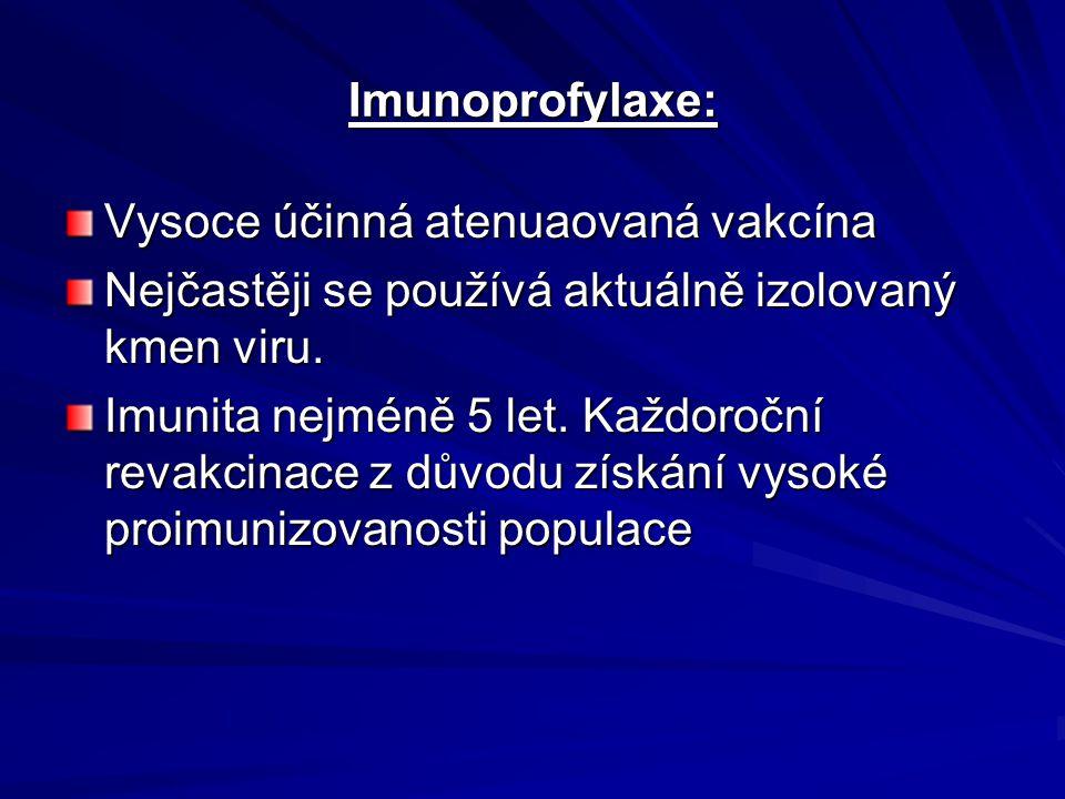 Imunoprofylaxe: Vysoce účinná atenuaovaná vakcína. Nejčastěji se používá aktuálně izolovaný kmen viru.
