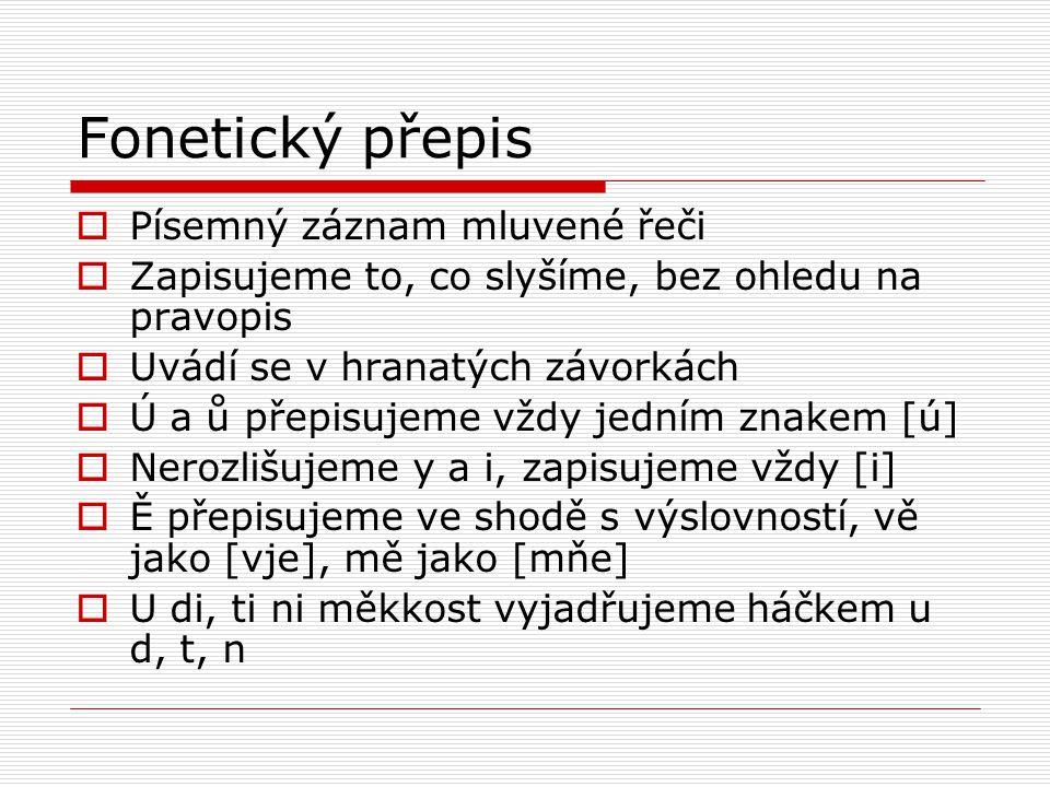 Fonetický přepis Písemný záznam mluvené řeči