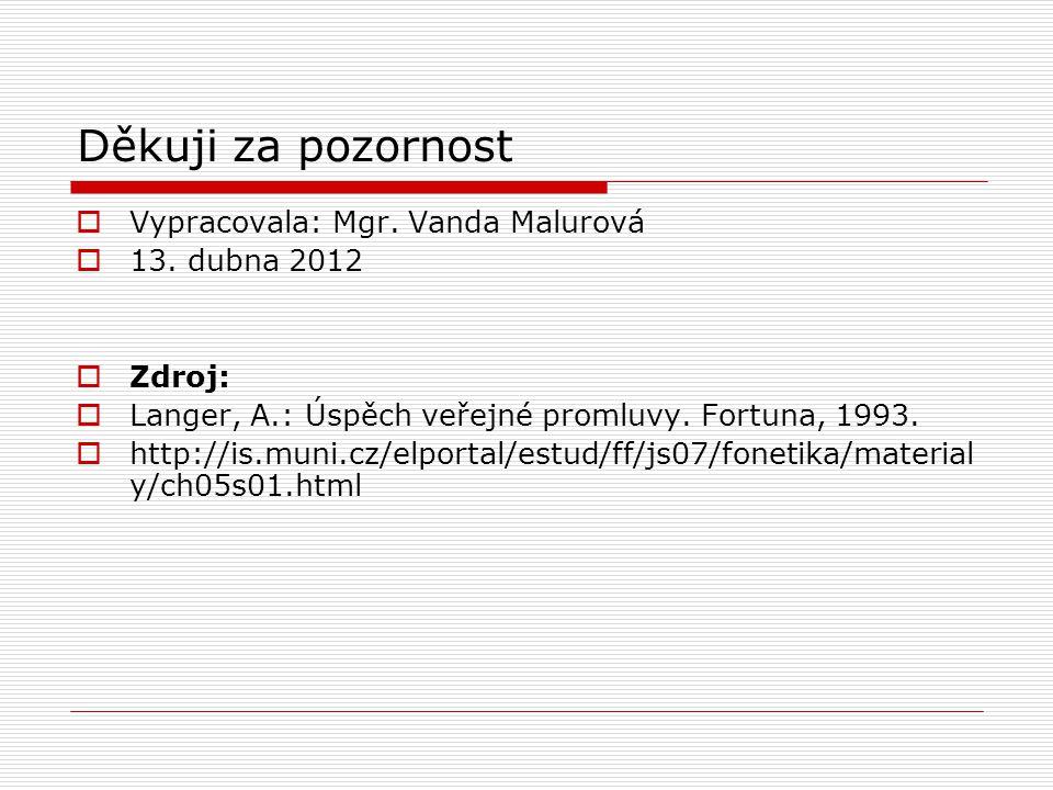 Děkuji za pozornost Vypracovala: Mgr. Vanda Malurová 13. dubna 2012