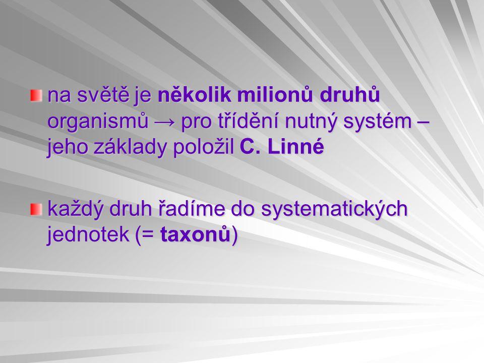 na světě je několik milionů druhů organismů → pro třídění nutný systém – jeho základy položil C. Linné