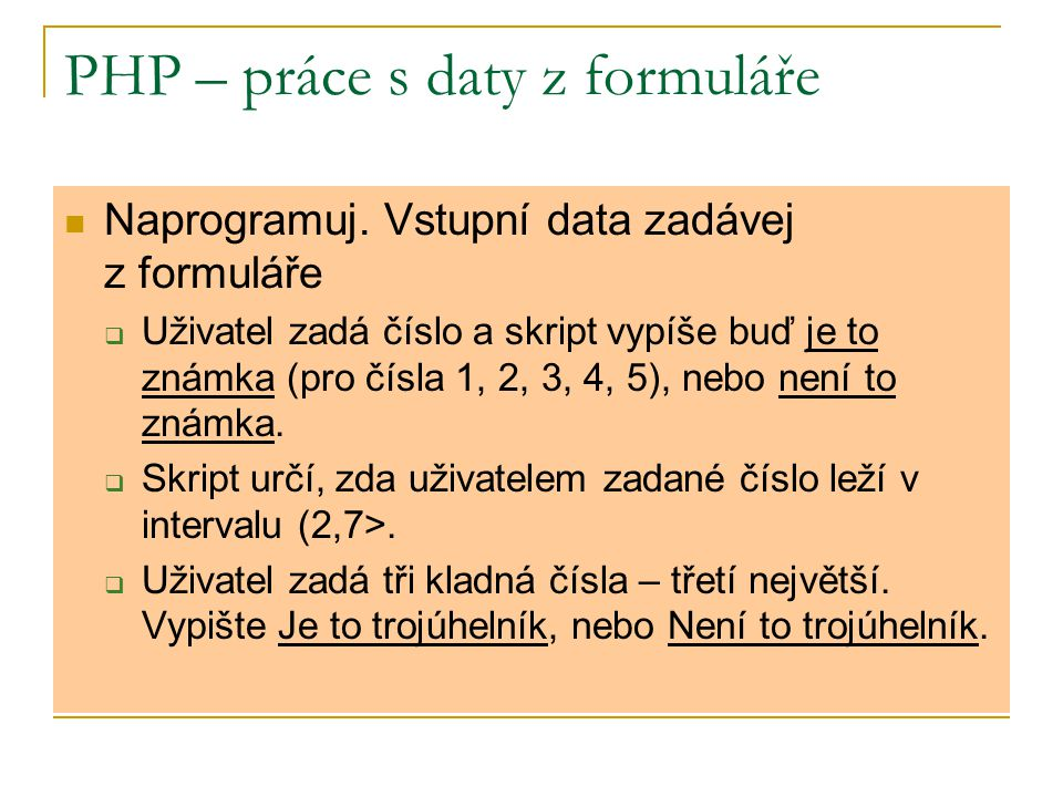 PHP – práce s daty z formuláře