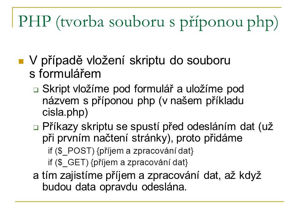 PHP (tvorba souboru s příponou php)