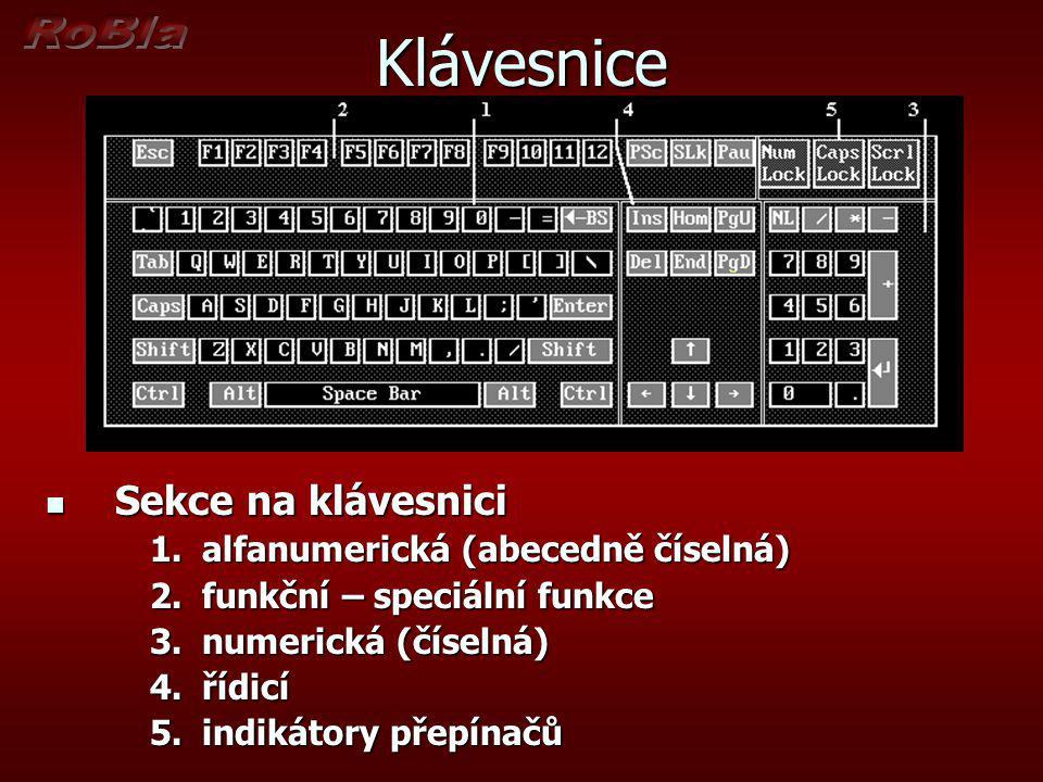Klávesnice Sekce na klávesnici alfanumerická (abecedně číselná)