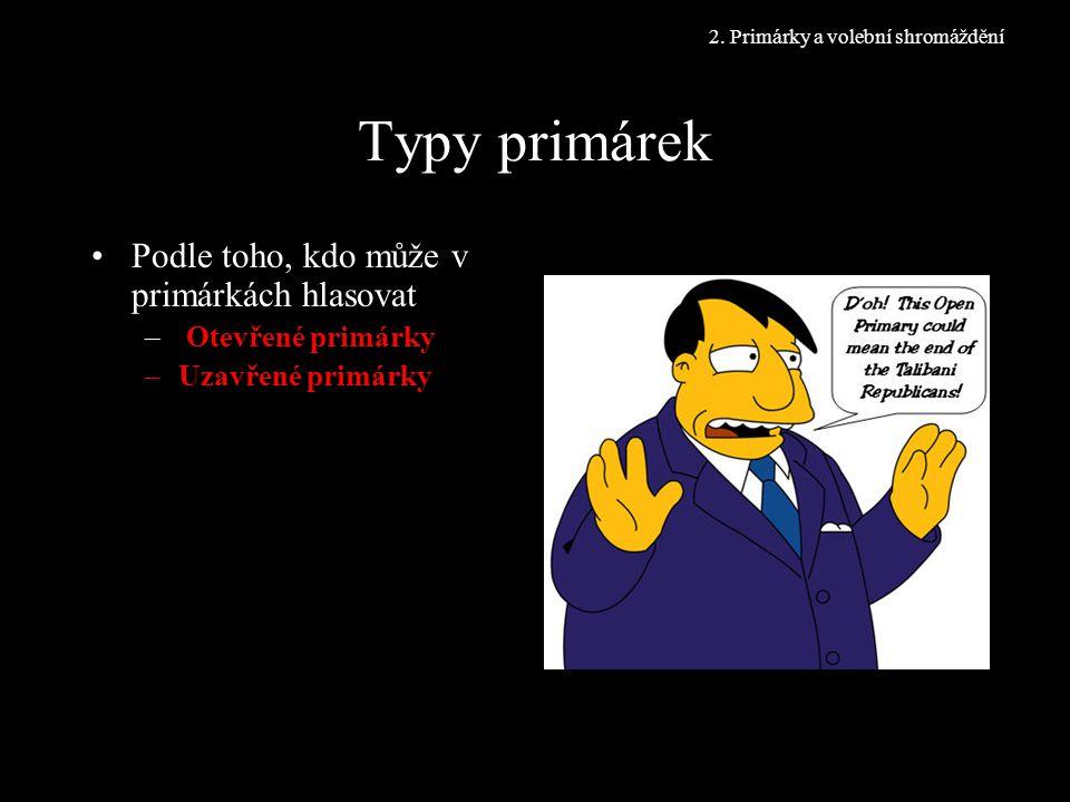Typy primárek Podle toho, kdo může v primárkách hlasovat