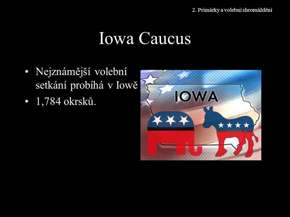 Iowa Caucus Nejznámější volební setkání probíhá v Iowě 1,784 okrsků.