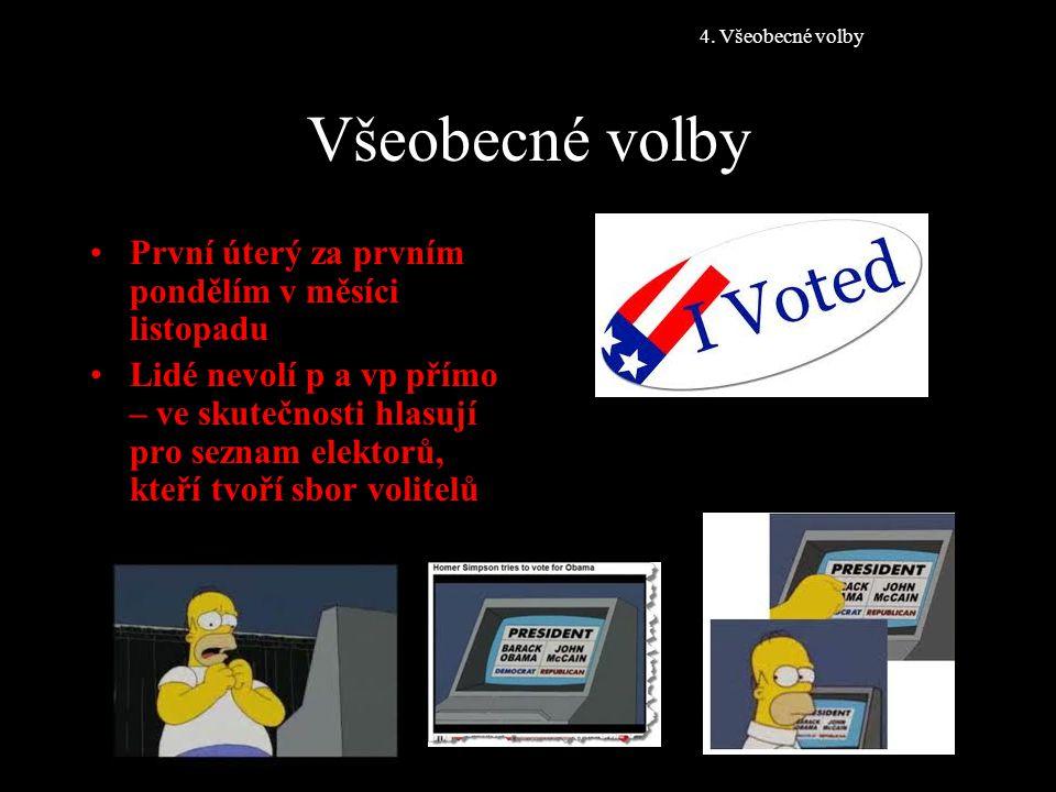 Všeobecné volby První úterý za prvním pondělím v měsíci listopadu