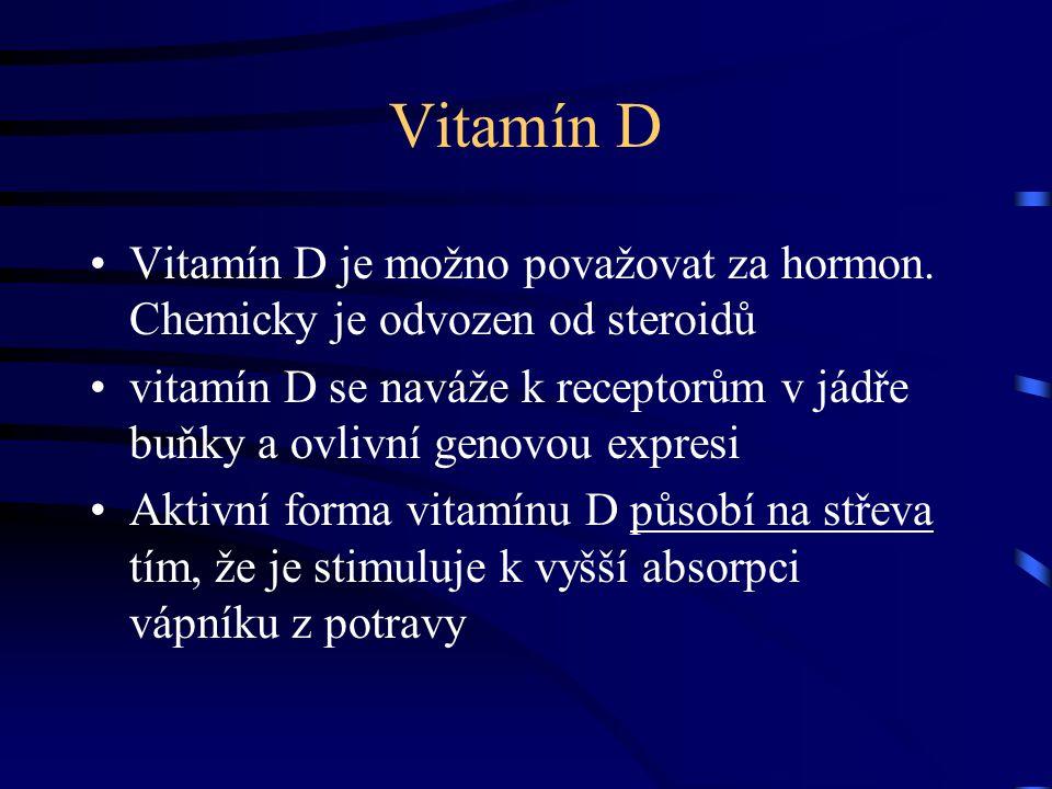 Vitamín D Vitamín D je možno považovat za hormon. Chemicky je odvozen od steroidů.