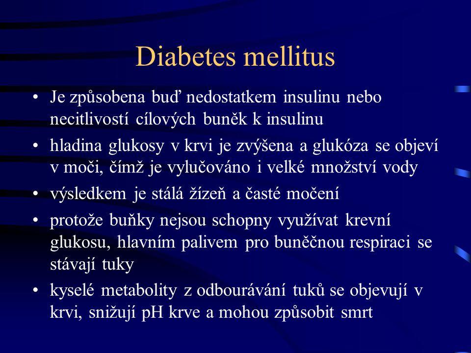 Diabetes mellitus Je způsobena buď nedostatkem insulinu nebo necitlivostí cílových buněk k insulinu.