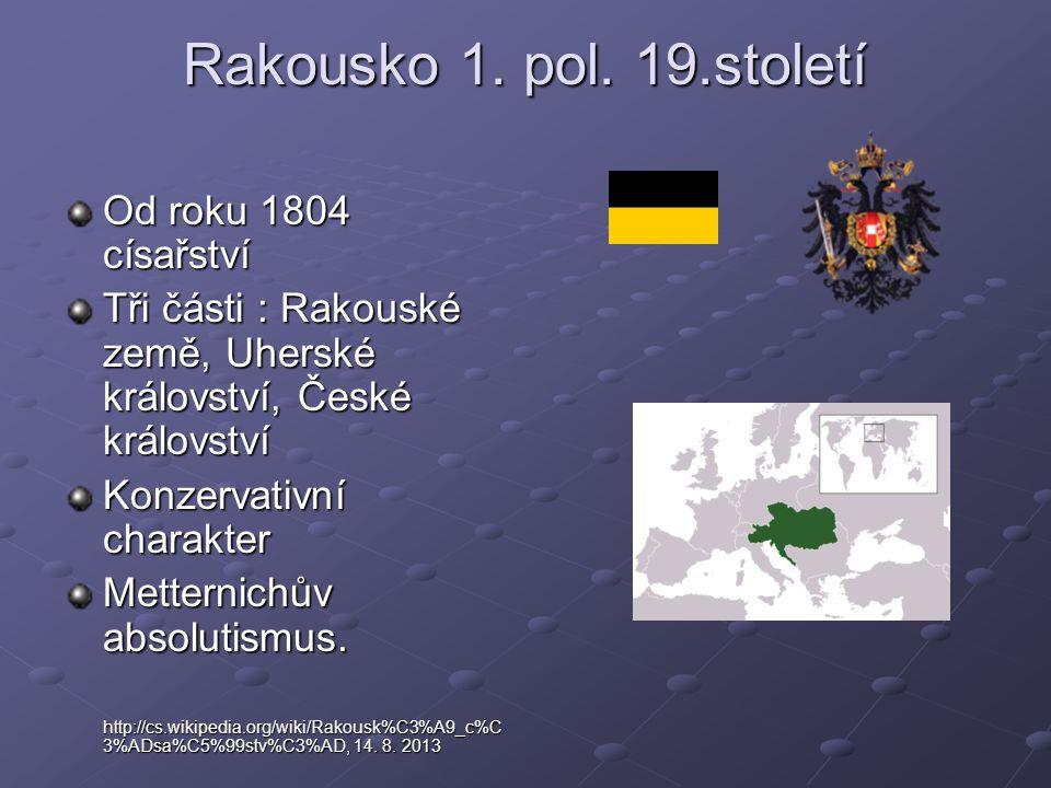 Rakousko 1. pol. 19.století Od roku 1804 císařství