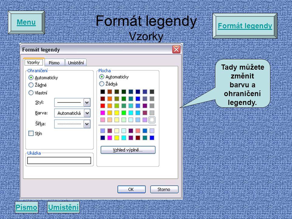 Tady můžete změnit barvu a ohraničení legendy.