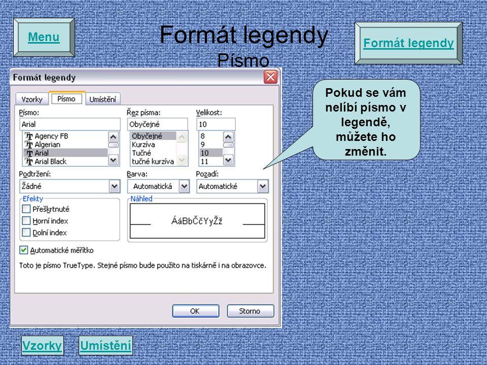 Pokud se vám nelíbí písmo v legendě, můžete ho změnit.