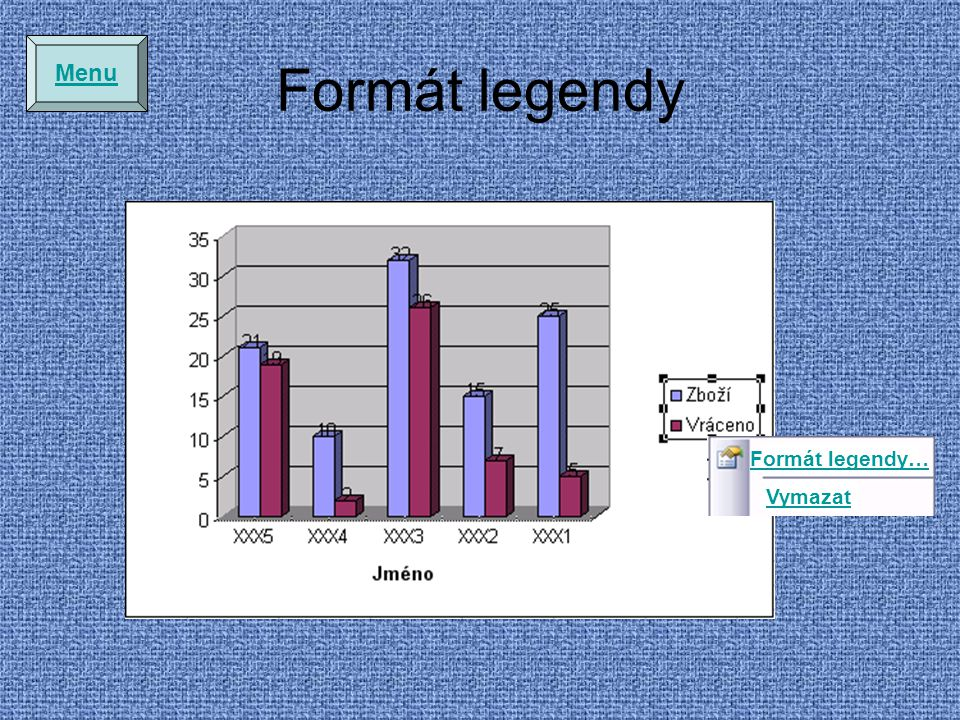 Menu Formát legendy Formát legendy… Vymazat