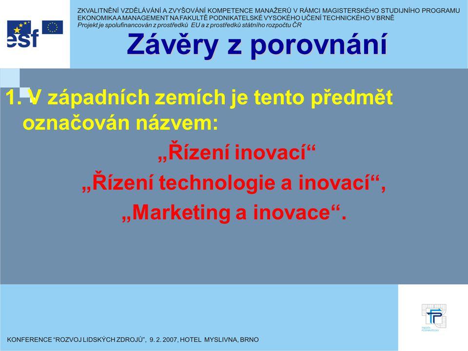 """""""Řízení technologie a inovací ,"""