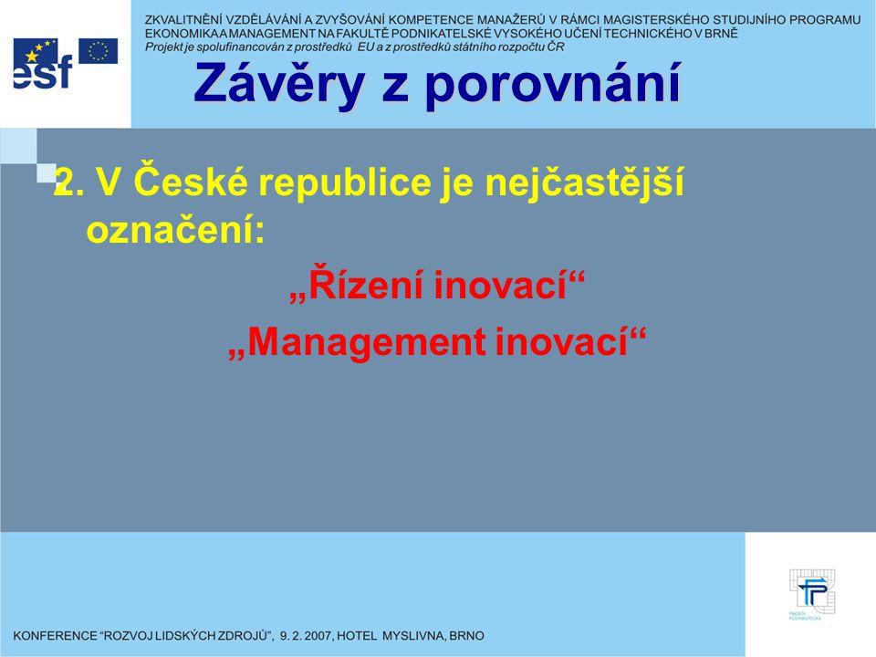 Závěry z porovnání 2. V České republice je nejčastější označení: