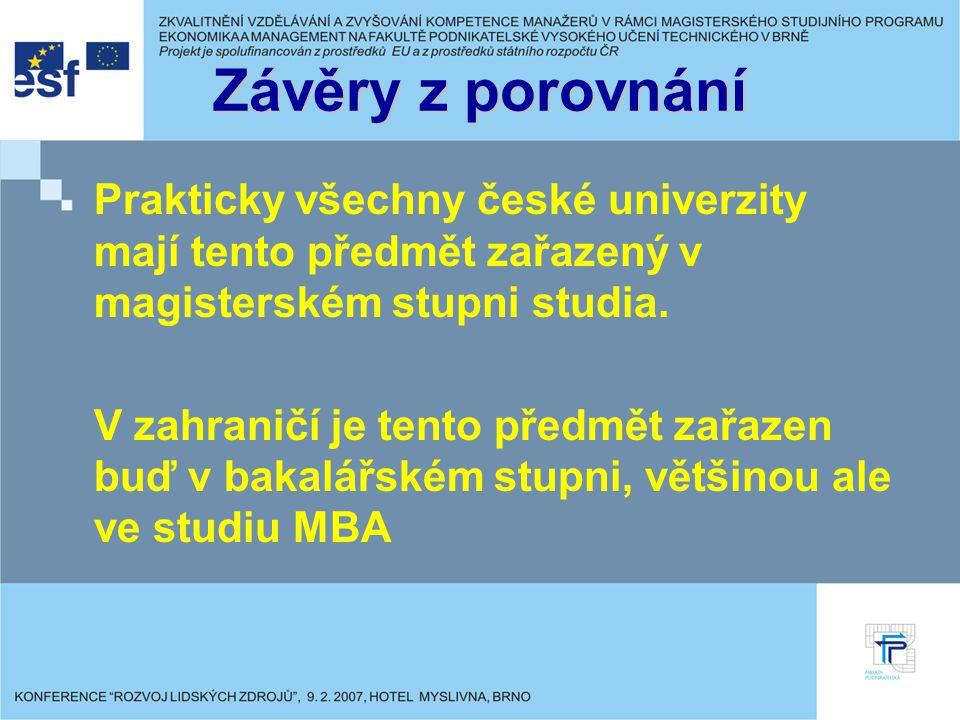 Závěry z porovnání Prakticky všechny české univerzity mají tento předmět zařazený v magisterském stupni studia.