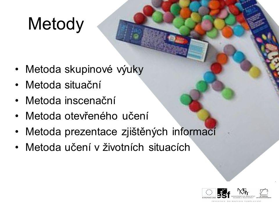 Metody Metoda skupinové výuky Metoda situační Metoda inscenační