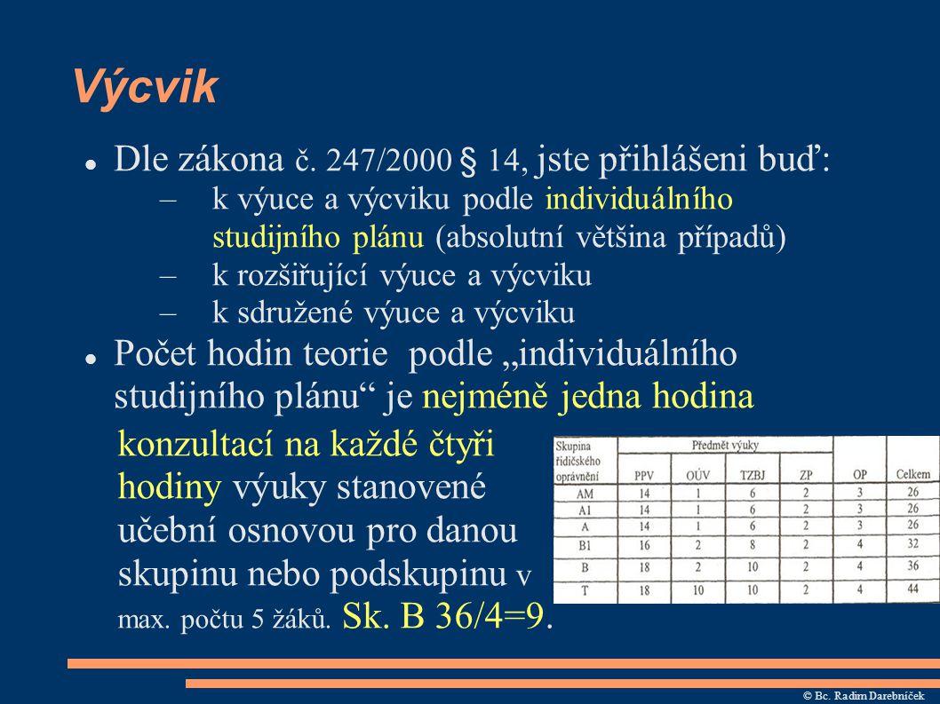 Výcvik Dle zákona č. 247/2000 § 14, jste přihlášeni buď: