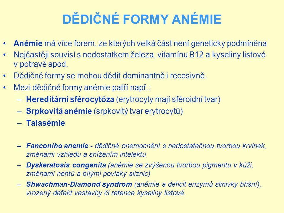 DĚDIČNÉ FORMY ANÉMIE Anémie má více forem, ze kterých velká část není geneticky podmíněna.