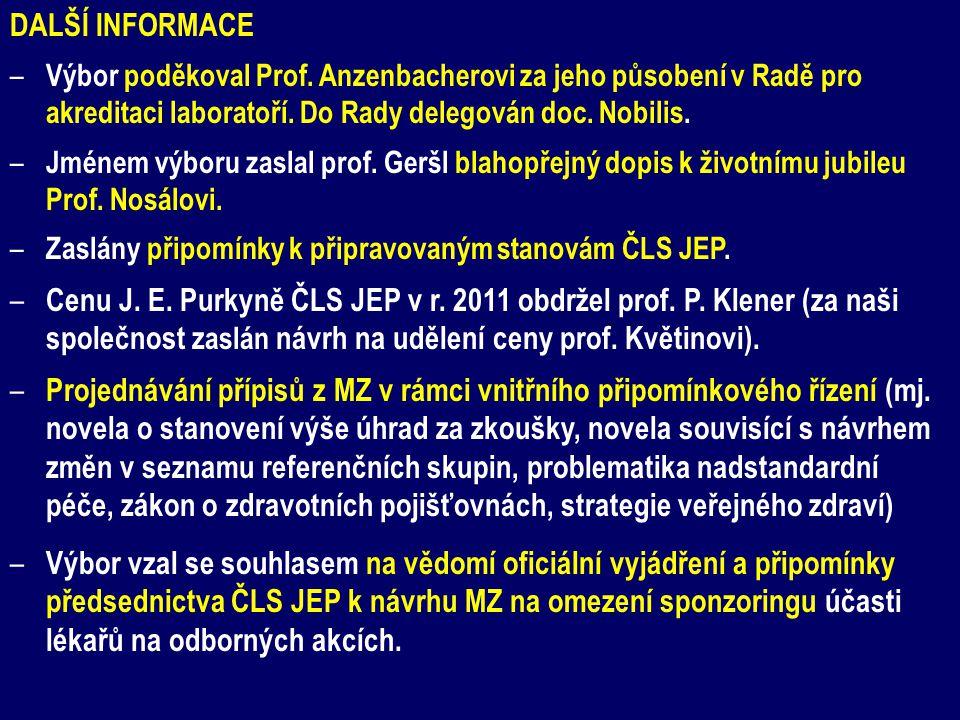 DALŠÍ INFORMACE Výbor poděkoval Prof. Anzenbacherovi za jeho působení v Radě pro akreditaci laboratoří. Do Rady delegován doc. Nobilis.