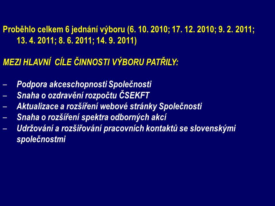 Proběhlo celkem 6 jednání výboru (6. 10. 2010; 17. 12. 2010; 9. 2