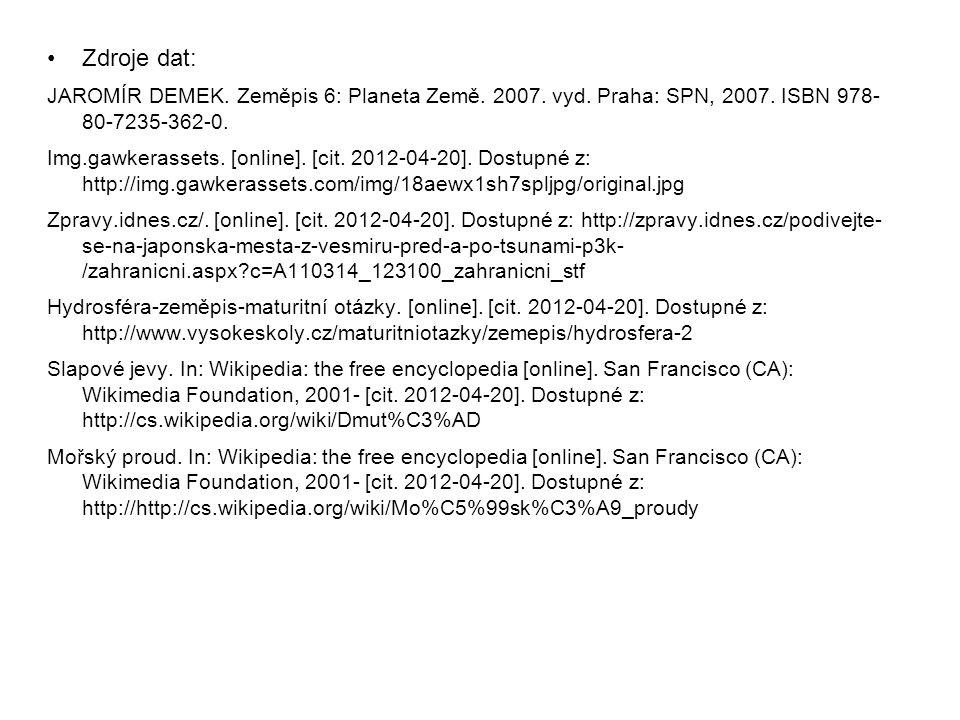 Zdroje dat: JAROMÍR DEMEK. Zeměpis 6: Planeta Země. 2007. vyd. Praha: SPN, 2007. ISBN 978- 80-7235-362-0.