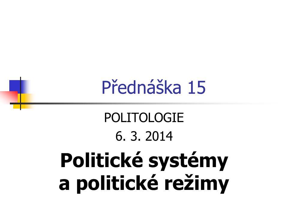 POLITOLOGIE 6. 3. 2014 Politické systémy a politické režimy