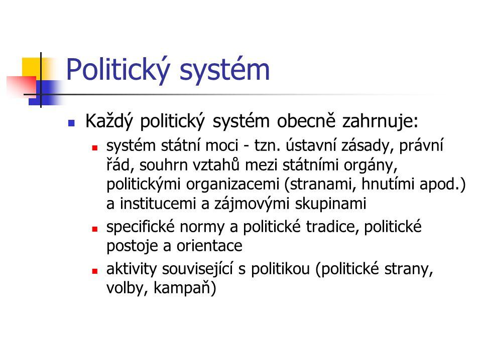 Politický systém Každý politický systém obecně zahrnuje: