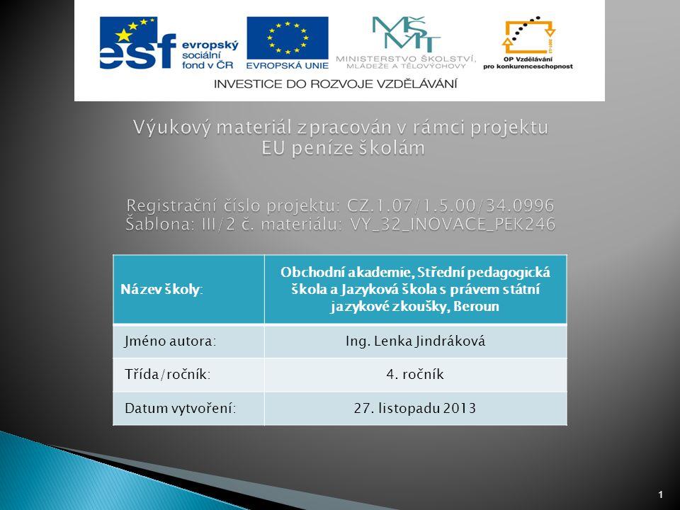 Výukový materiál zpracován v rámci projektu EU peníze školám Registrační číslo projektu: CZ.1.07/1.5.00/34.0996 Šablona: III/2 č. materiálu: VY_32_INOVACE_PEK246