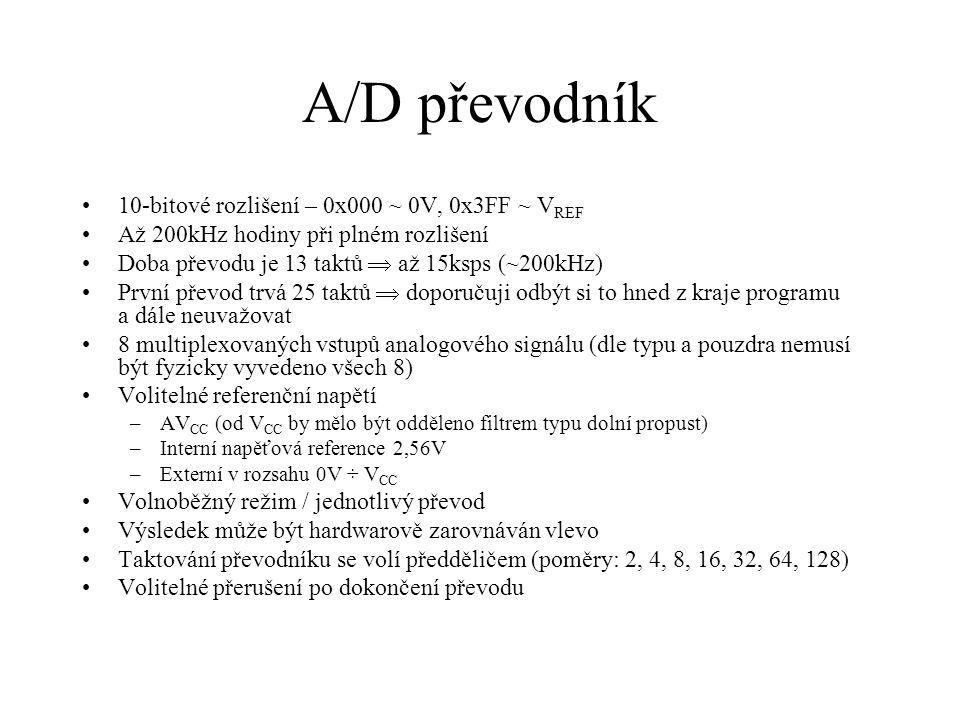 A/D převodník 10-bitové rozlišení – 0x000 ~ 0V, 0x3FF ~ VREF