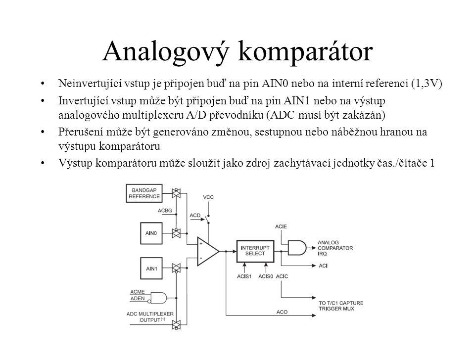 Analogový komparátor Neinvertující vstup je připojen buď na pin AIN0 nebo na interní referenci (1,3V)