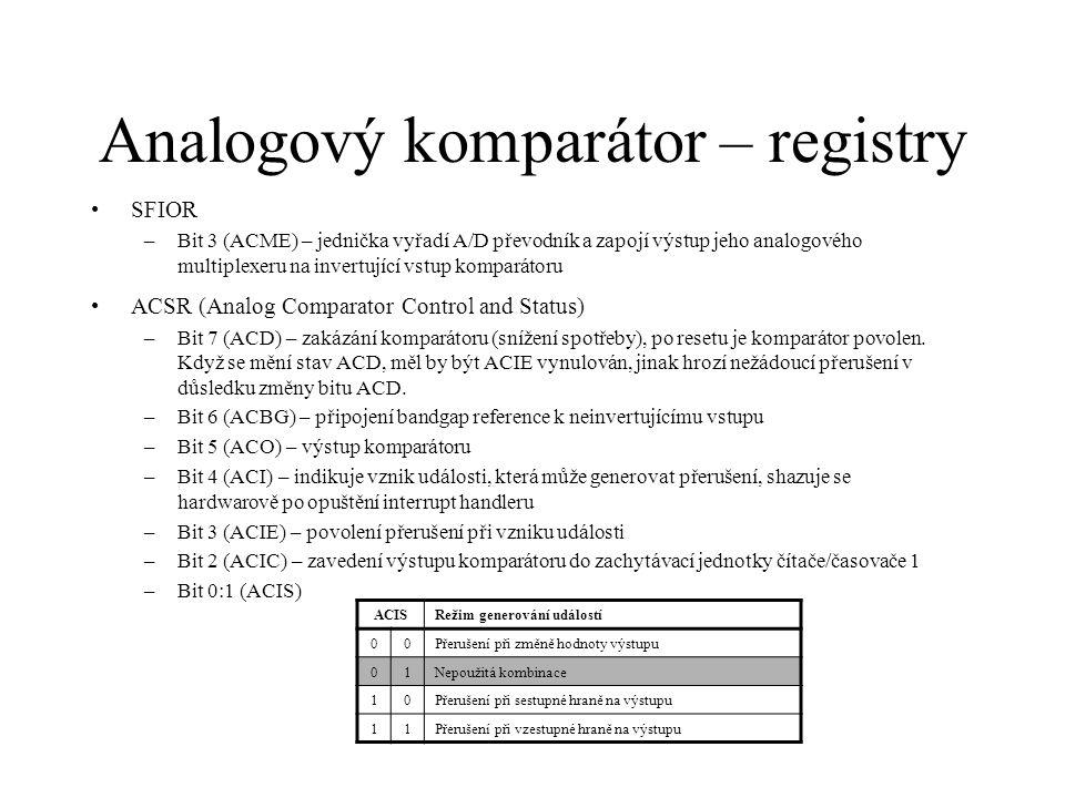 Analogový komparátor – registry
