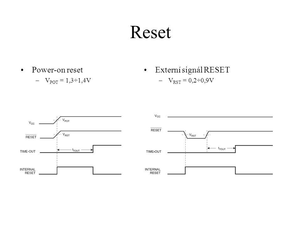 Reset Power-on reset Externí signál RESET VPOT = 1,3÷1,4V