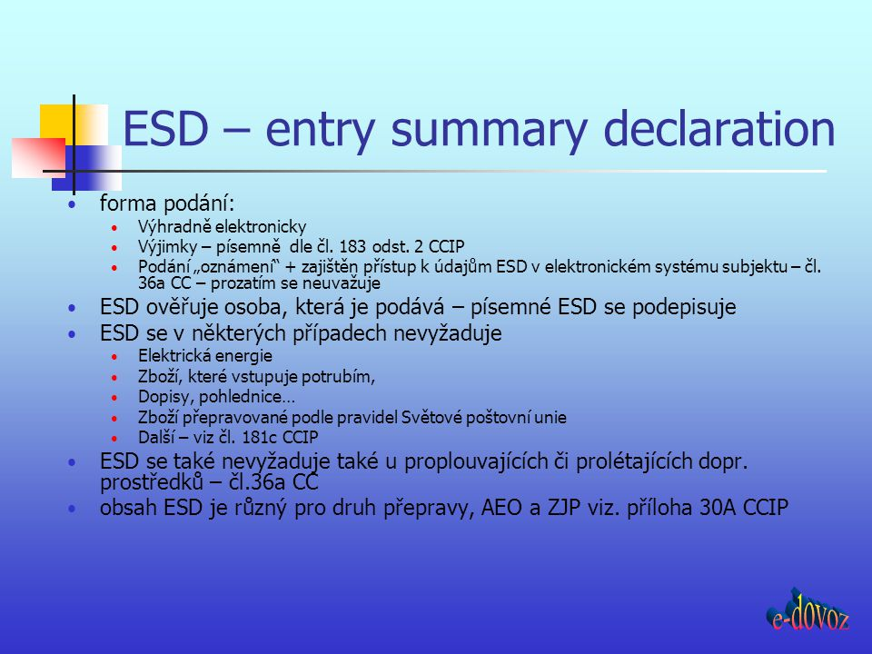 ESD – entry summary declaration