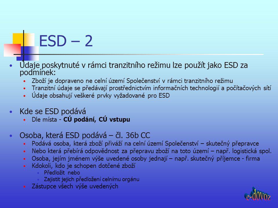 ESD – 2 Údaje poskytnuté v rámci tranzitního režimu lze použít jako ESD za podmínek: