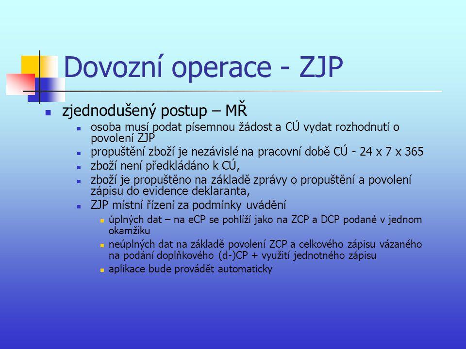 Dovozní operace - ZJP zjednodušený postup – MŘ