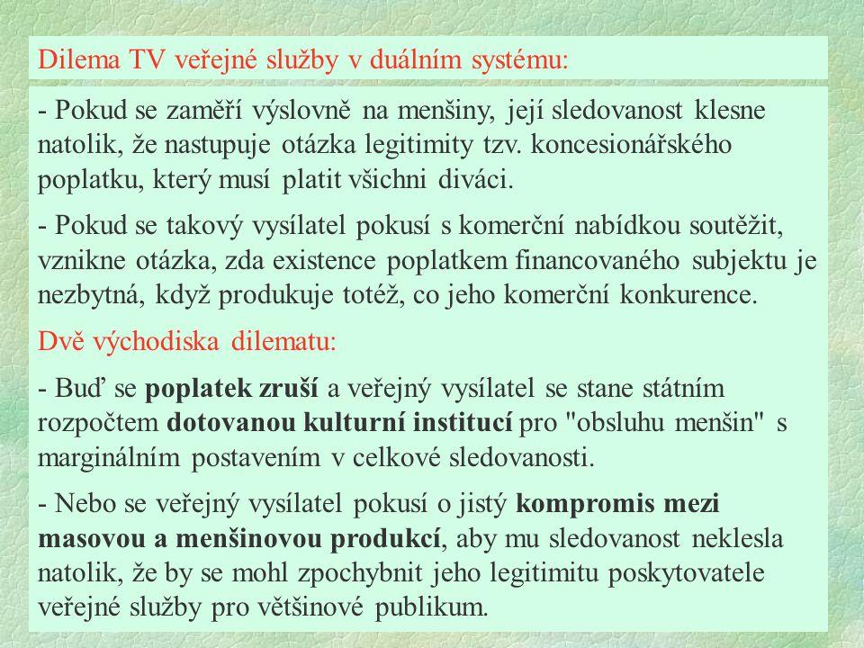 Dilema TV veřejné služby v duálním systému: