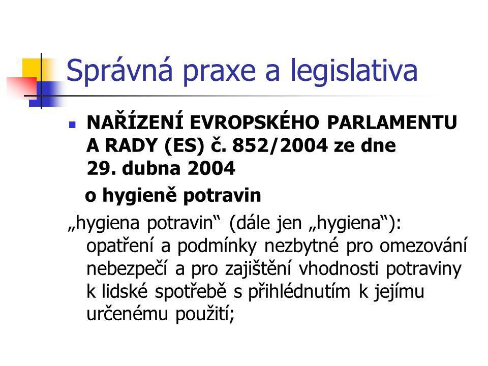 Správná praxe a legislativa