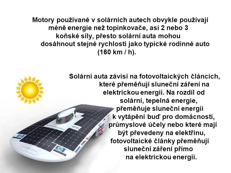 Motory používané v solárních autech obvykle používají