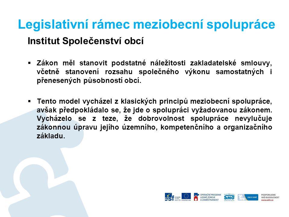 Legislativní rámec meziobecní spolupráce