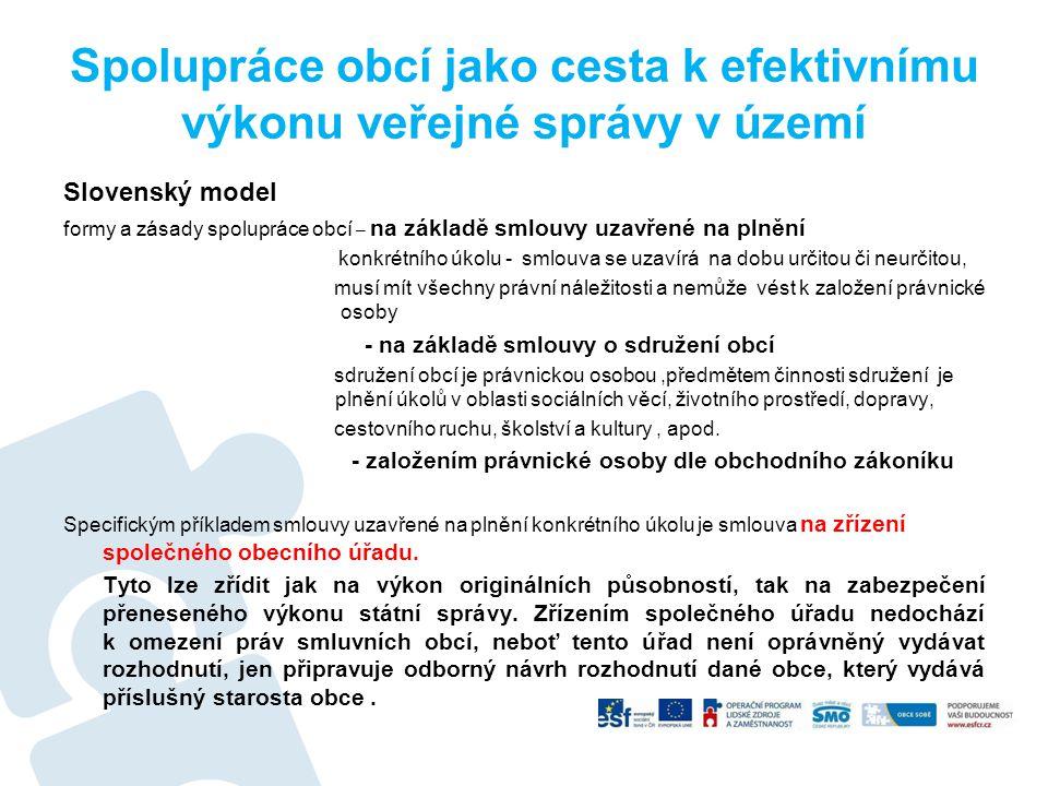 Spolupráce obcí jako cesta k efektivnímu výkonu veřejné správy v území