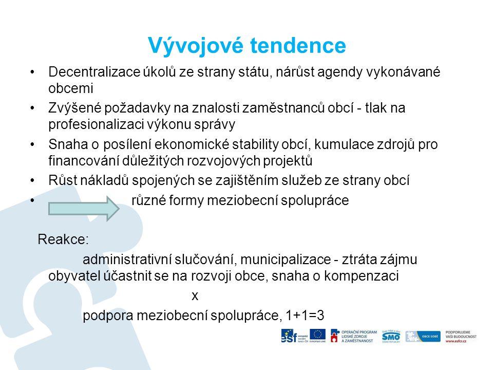 Vývojové tendence Decentralizace úkolů ze strany státu, nárůst agendy vykonávané obcemi.
