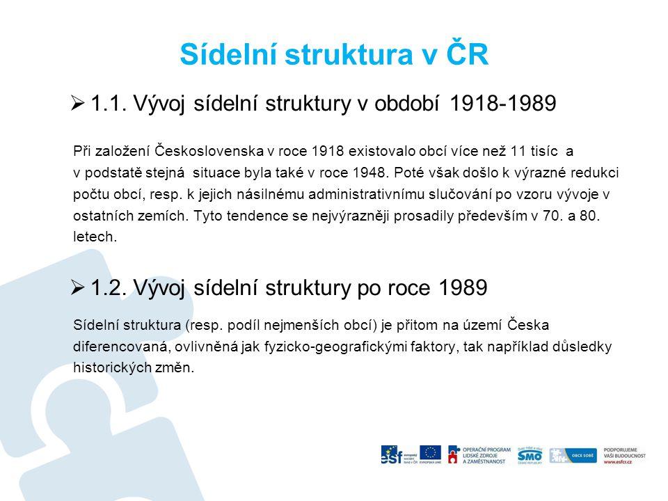 Sídelní struktura v ČR 1.1. Vývoj sídelní struktury v období 1918-1989